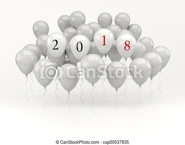 red balloons with 2018 new year sign csp50537835