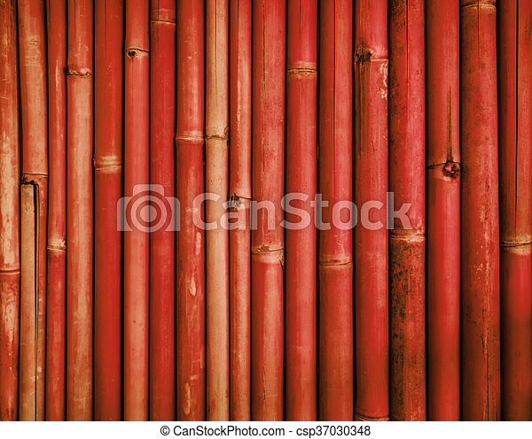 Red bamboo fence texture - csp37030348