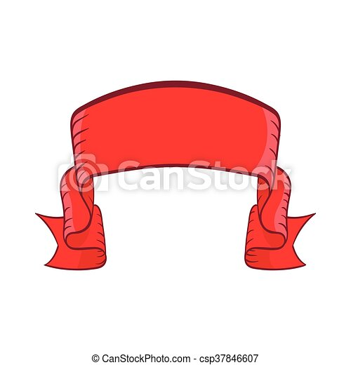 Red banner icon, cartoon style - csp37846607