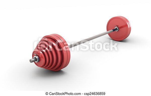 Red barbell isolated on white - csp24636859