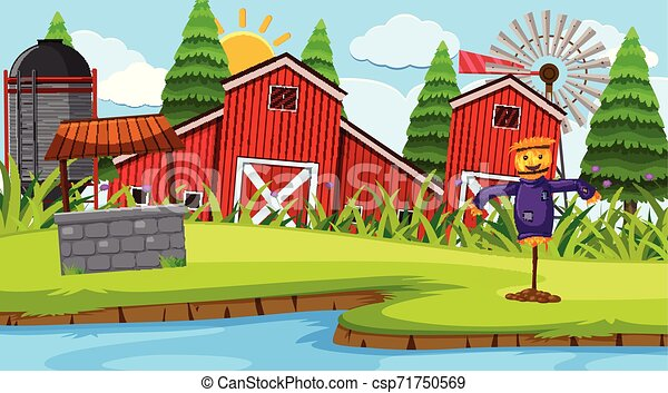 Red barn farm scene - csp71750569