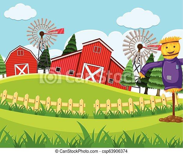 Red barn farm scene - csp63906374