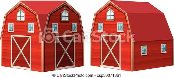 Red barn in 3D design - csp50071361