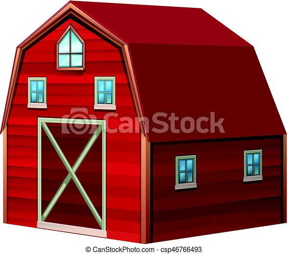 Red barn in 3D design - csp46766493