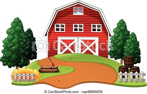Red barn in the farm - csp48669209