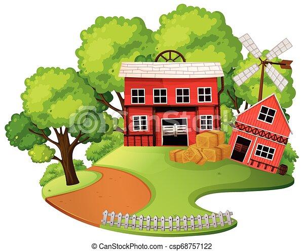 Red barn outdoor scene - csp68757122