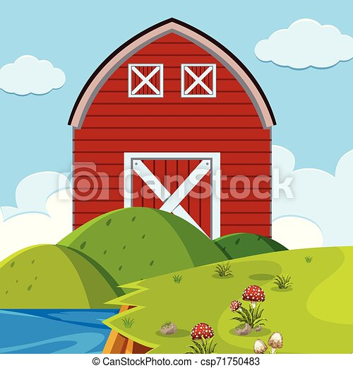 Red barn outdoors scene - csp71750483