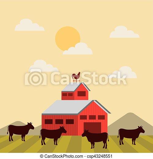 red barn over farm landscape - csp43248551