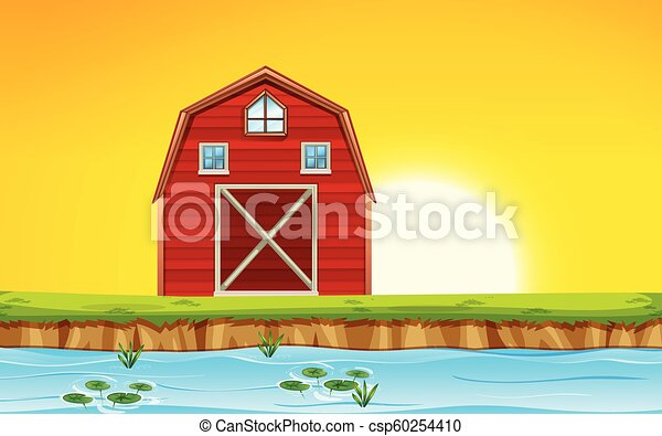 Red barn scene sunset - csp60254410