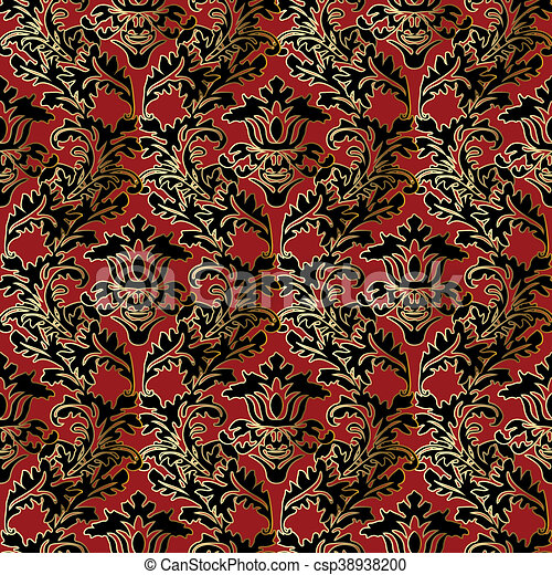 Red baroque seamless pattern