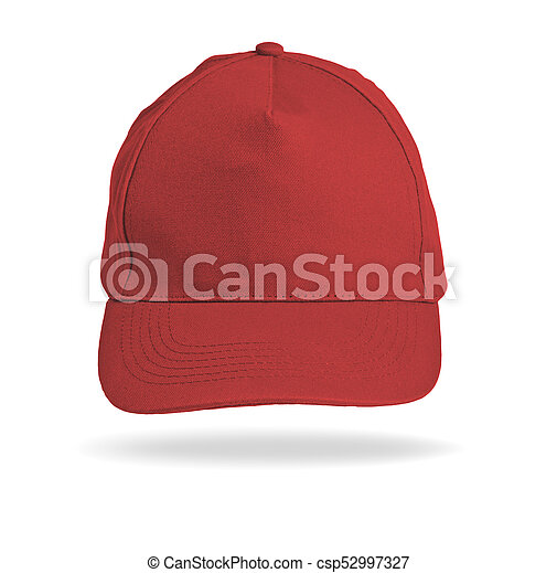 Red Baseball Cap on a white background. - csp52997327