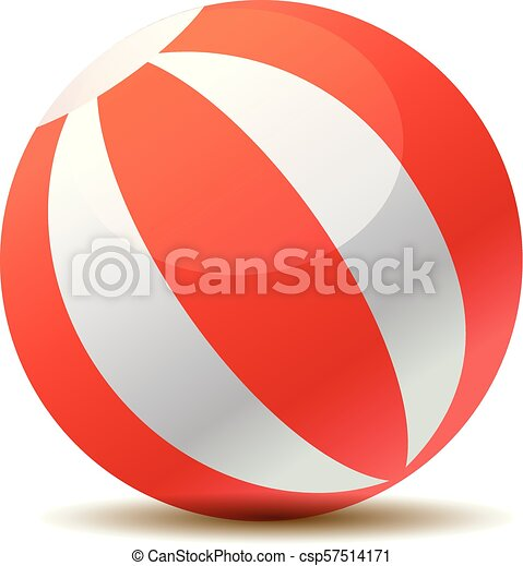Red beach ball vector illustration isolated on white background - csp57514171
