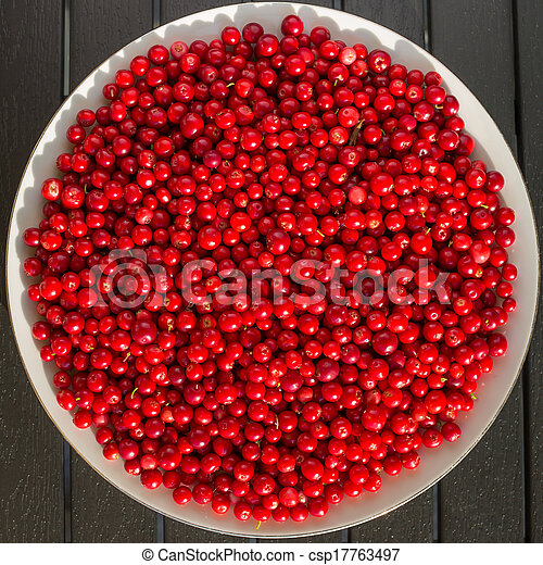 Red berries on a white plate - csp17763497
