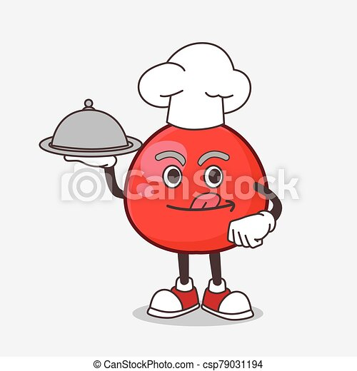 Red Berry cartoon mascot character as a Chef with food on tray ready to serve - csp79031194