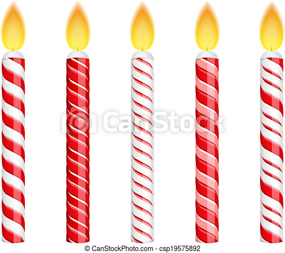 Red Birthday Candles Isolated On Whte