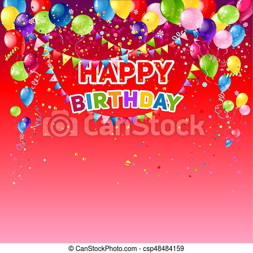 Red Birthday Card Positive Background With Balloons Holiday