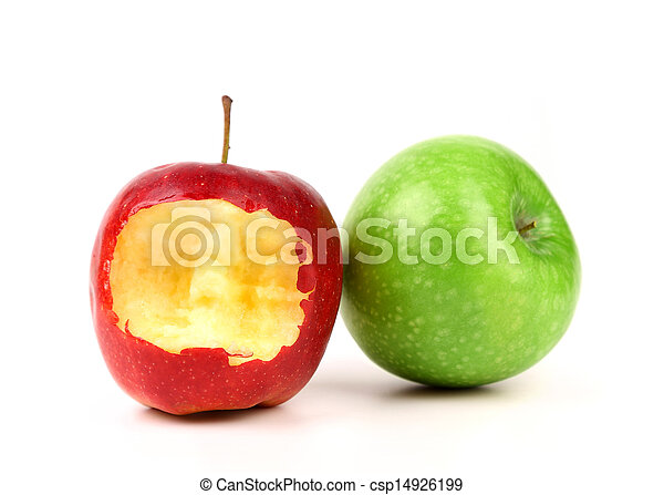 Red bitten apple and green isolated on white - csp14926199