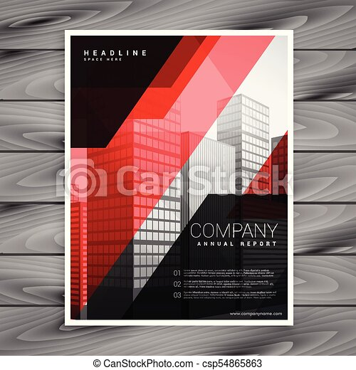 red black abstract company brochure template design csp54865863