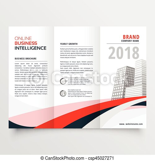 Red Black Wave Business Trifold Leaflet Brochure Flyer  Vectors