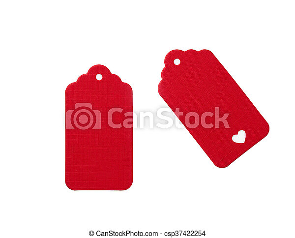 Red Blank gift tags - csp37422254