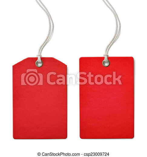 Red blank paper price or sale tag set isolated  - csp23009724