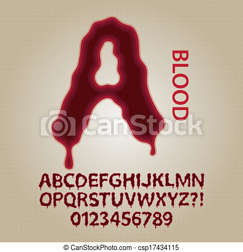 Red Blood Alphabet and Numbers Vector - csp17434115
