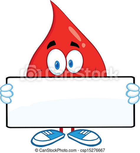 Red Blood Drop Holding A Banner - csp15276667