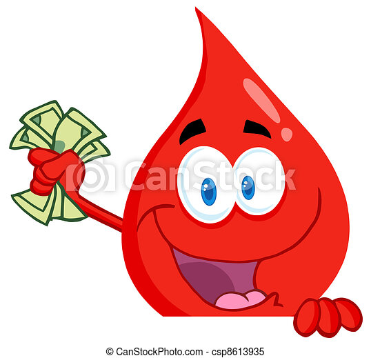 Red Blood Drop With Cash In Hand - csp8613935