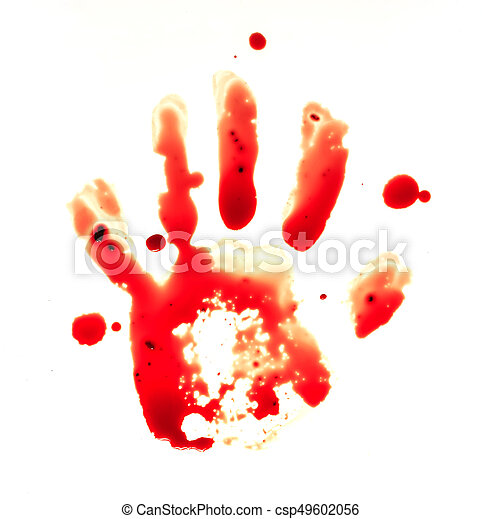 Red bloody handprint on a white background