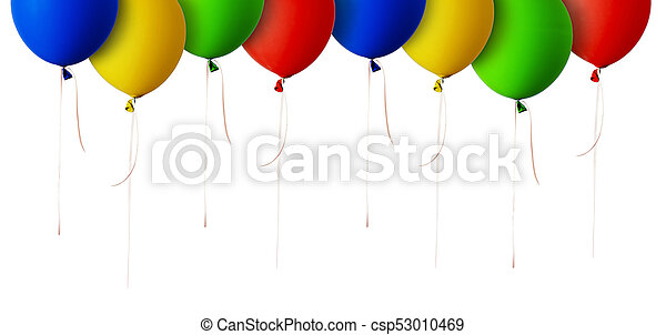 Red, blue, green and yellow balloons border - csp53010469