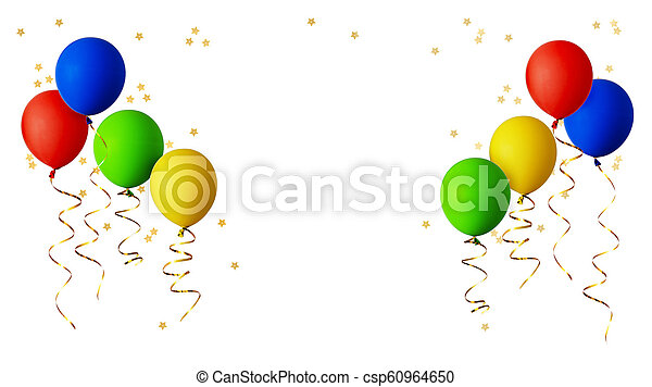 Red, blue, green and yellow balloons with gold ribbons and star shape confetti - csp60964650