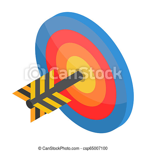 Red blue yellow target icon, isometric style - csp65007100