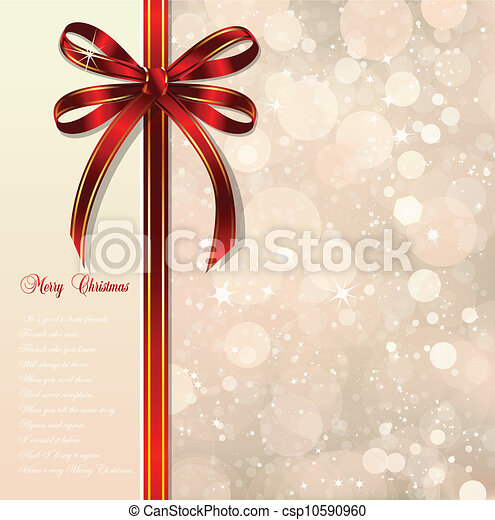 Red bow on a magical Christmas background. Vector - csp10590960