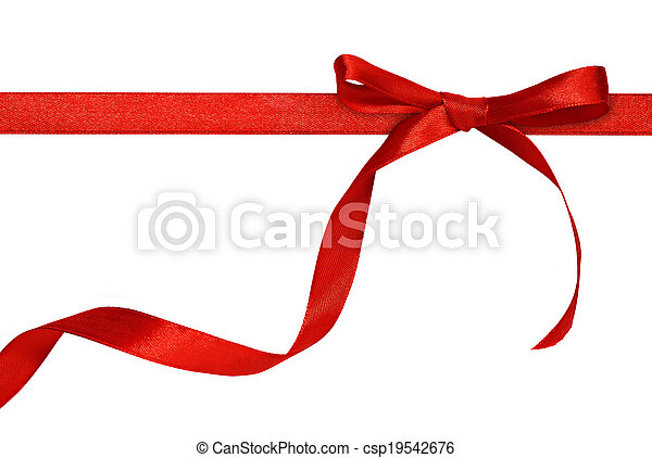 Red bow on white background - csp19542676