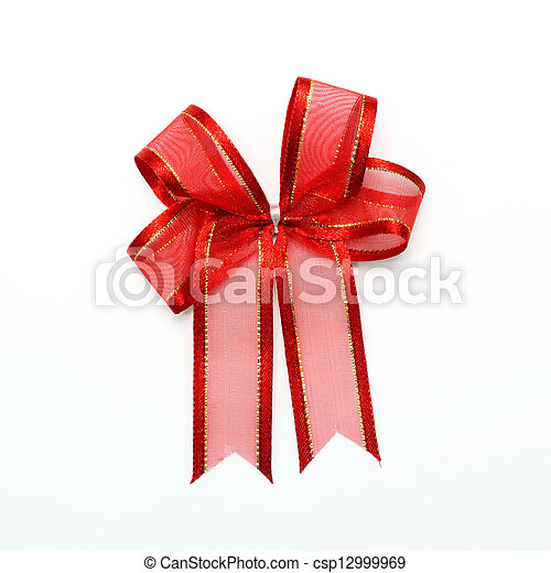 red bow on white background - csp12999969