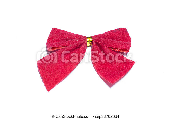 red bow on white background - csp33782664
