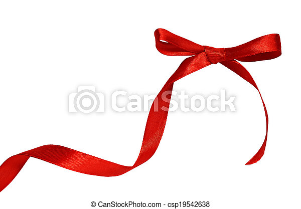 Red bow on white background - csp19542638