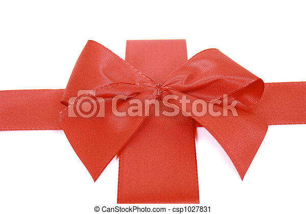 Red bow stripe isolated - csp1027831