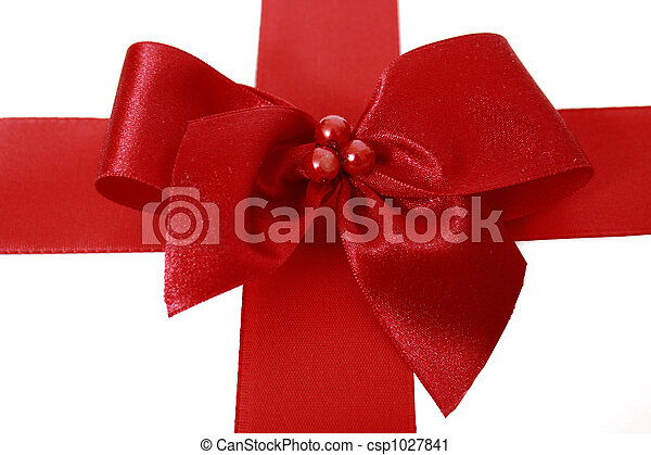 Red bow stripe isolated - csp1027841