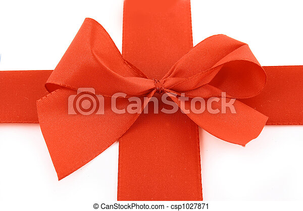 Red bow stripe isolated - csp1027871