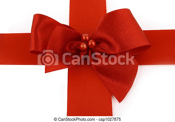 Red bow stripe isolated - csp1027875