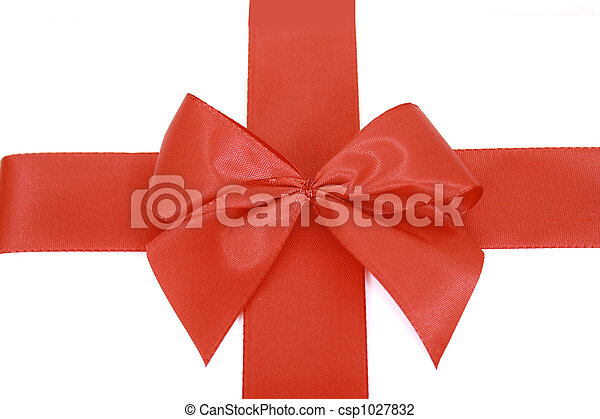 Red bow stripe isolated - csp1027832