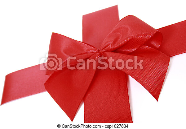 Red bow stripe isolated - csp1027834