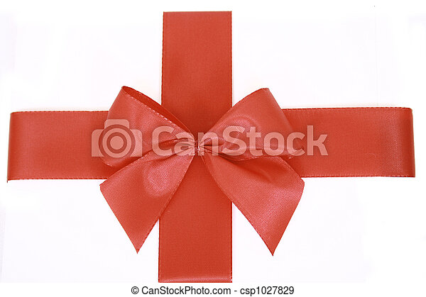 Red bow stripe isolated - csp1027829