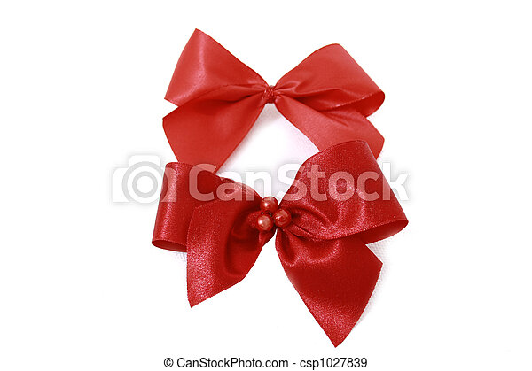 Red bow stripe isolated - csp1027839