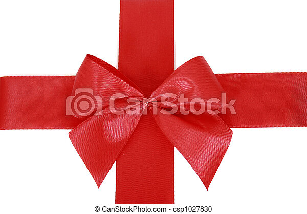 Red bow stripe isolated - csp1027830