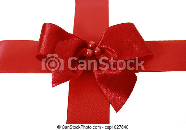 Red bow stripe isolated - csp1027840