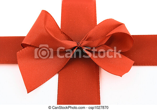 Red bow stripe isolated - csp1027870