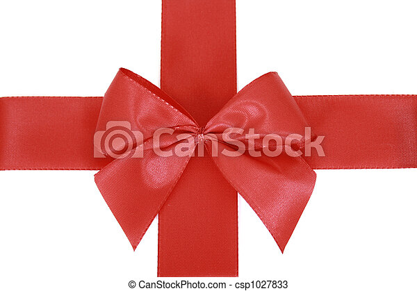 Red bow stripe isolated - csp1027833