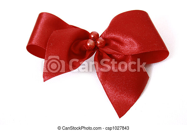 Red bow stripe isolated - csp1027843